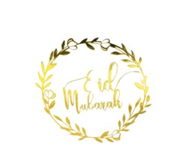 Stickers Eid Mubarak transparant goud (vel van 12)