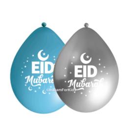 EId Mubarak ballonnen Blauw/zilver (10 stuks)