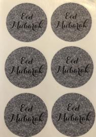 Eid Mubarak stickers grijs/zilver (vel van 6)