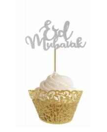 Cupcake prikkers zilver (10 stuks)