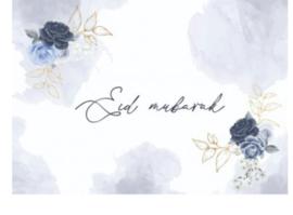 Eid Mubarak placemats Peony blue (6 stuks)
