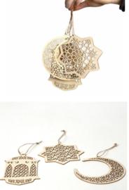 Houten decoratie hangers (set van 3)
