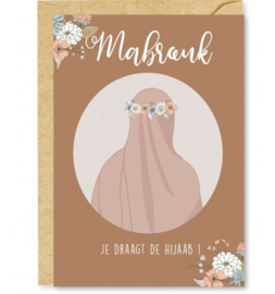 Wenskaart Mabrouk je draagt de Hijaab