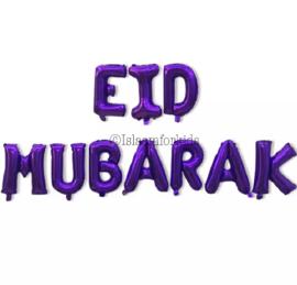 Eid mubarak folie ballon paars