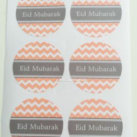 Eid Mubarak stickers Roze/grijs (vel van 6)