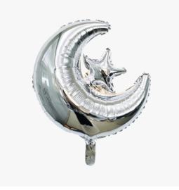Maan - Ster ballon Zilver