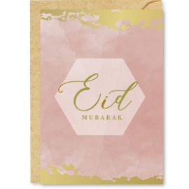 Wenskaart Eid Mubarak roze