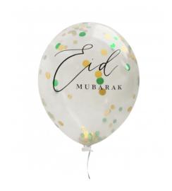 Ballonnen Eid Mubarak goud/groen confetti (6 stuks)