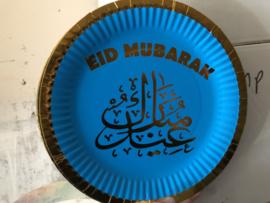 Eid mubarak borden 6 stuks blauw/goud