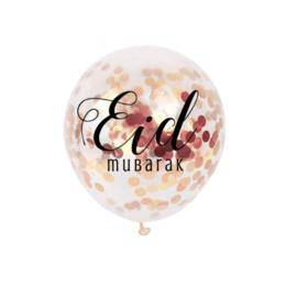 Ballonnen Eid Mubarak confetti rosé (6 stuks)