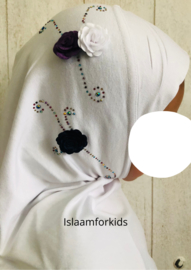 1 delige stretch kinder hoofddoek diamant  wit