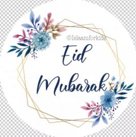 Eid Mubarak stickers bloemen (vel van 6)