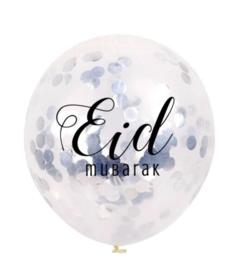 Ballonnen Eid Mubarak confetti zilver (6 stuks)