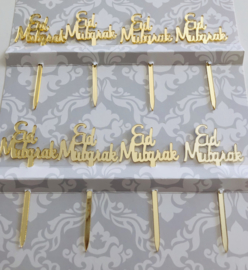 Cupcake prikkers Eid Mubarak goud (8 stuks)