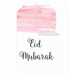 Eid Mubarak label roze/goud