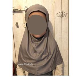 1 delige stretch kinder hoofddoek diamant  taupe