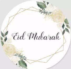 Eid Mubarak stickers goud/groen (vel van 6)
