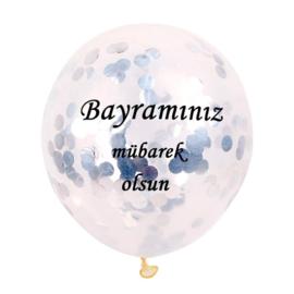 Ballonnen Bayraminiz mubarek olsun  zilver confetti (5 stuks)
