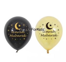 Umrah Mubarak ballonnen goud/zwart (10 stuks)