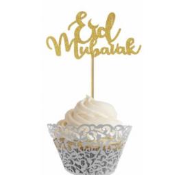 Cupcake prikkers goud (10 stuks)