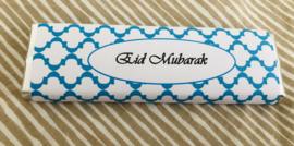 Eid Mubarak chocolade reep blauw/wit