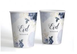 Eid mubarak bekers peony blue (6 stuks)