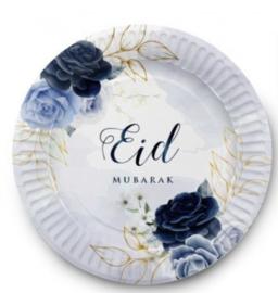Eid Mubarak bord Peony blue 6 stuks)