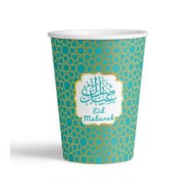 Eid Mubarak beker Groen/goud (set van 6)