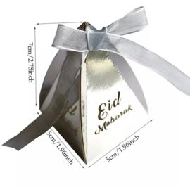 Eid mubarak doosje zilver