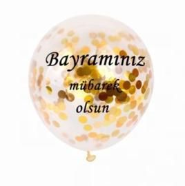 Ballonnen Bayraminiz mubarek olsun  goud confetti (5 stuks)