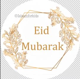 Eid Mubarak stickers goud (vel van 6)