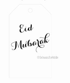 Eid Mubarak label wit/zwart