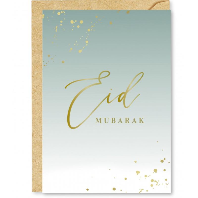 Wenskaart Eid Mubarak mintgroen