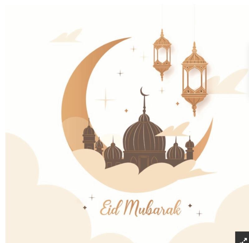 Wenskaart Eid Mubarak Maan beige