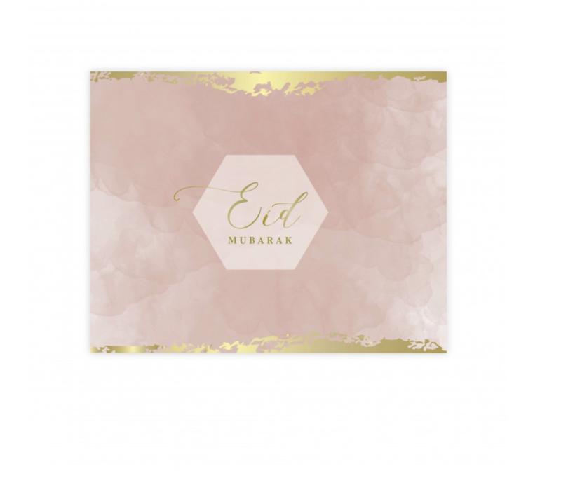 Eid Mubarak placemat roze (plastic)
