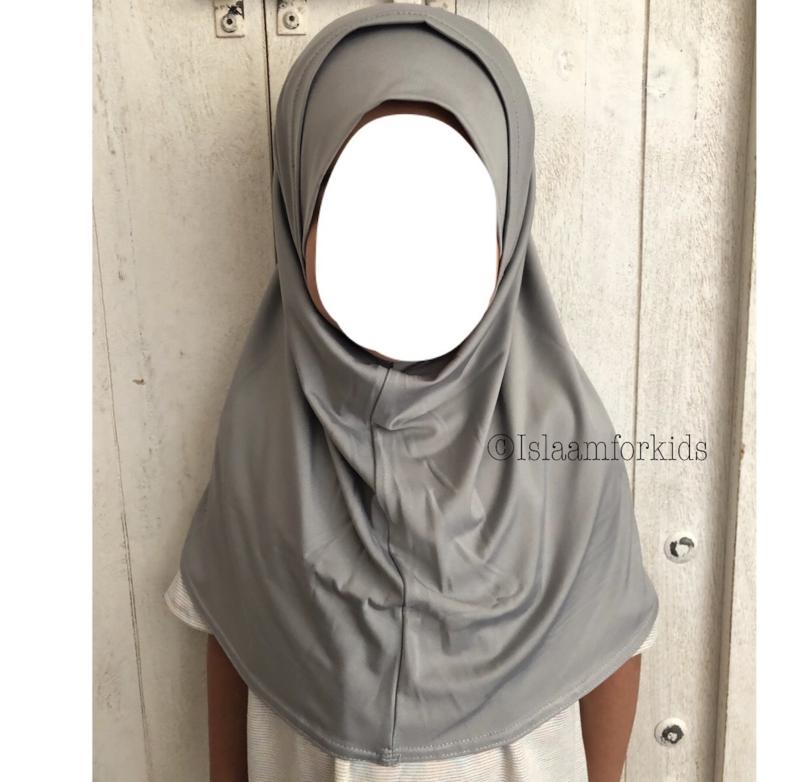 2 delige stretch kinder hoofddoek licht grijs