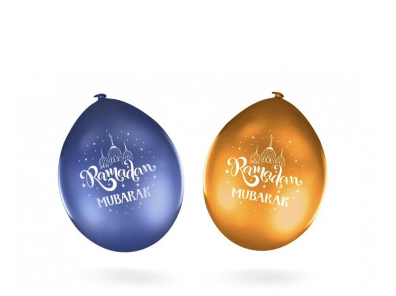 Ramadan Mubarak ballonnen blauw/goud  (10 stuks)