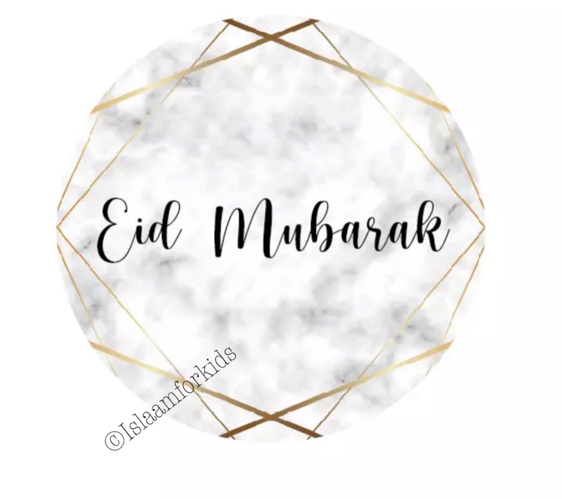 Eid mubarak stickers marmer (vel van 6)