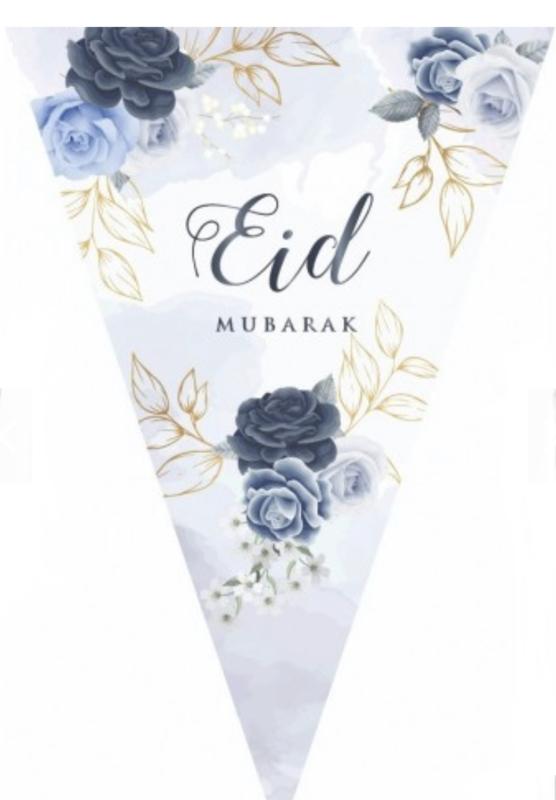 Eid mubarak slinger Peony blue