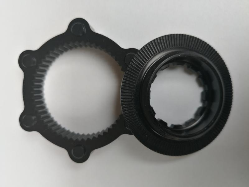 Centerlock disc adapter, zwart: Centerlock naaf , 6 Bold Disc