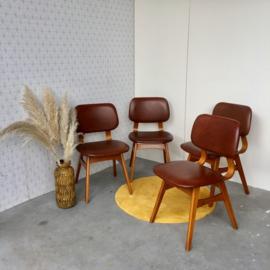4 Midcentury stoelen