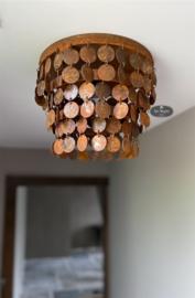 Metalen schijfjeslamp plafonnière roest, kleine schijfjes