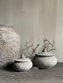 Set van 2 stenen potjes Nepal pottery