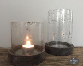 Glazen windlicht / pot met deksel, maat S