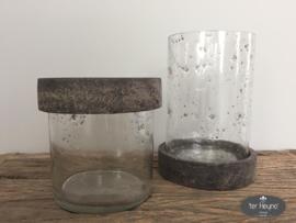Glazen windlicht / pot met deksel, maat L