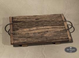 Oud houten railway dienblad S