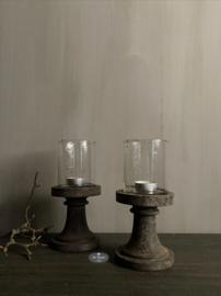 Waxinehouder glas op houten voet