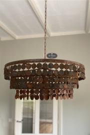 Metalen schijfjeslamp 70 cm roest, kleine schijfjes