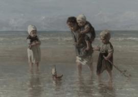 Prent kinderen aan zee A3