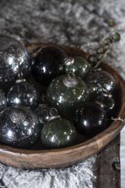 Christmas ornament pebbled glass smoke Ø9,5 cm